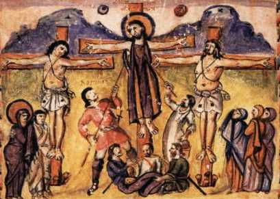 Crocifissione_Miniatura_evangeliario_Rabbula